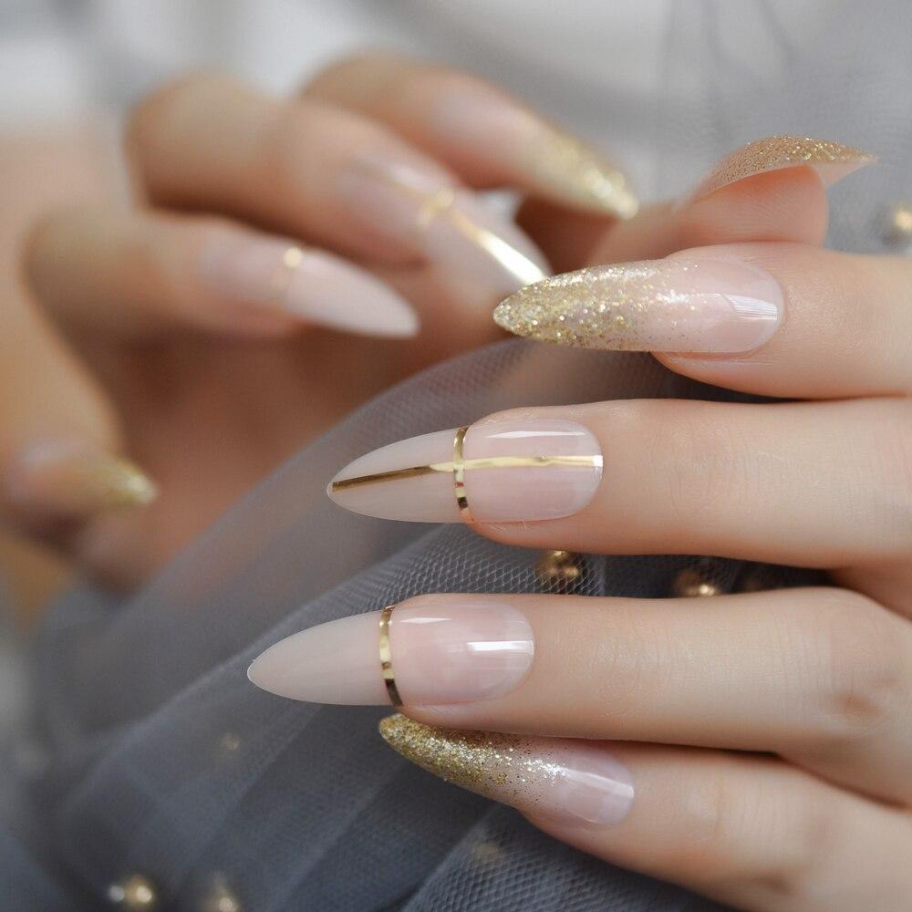 Роскошные поддельные ногти дизайнерские удлиненные Омбре французские украшения предварительно разработанные ногти натуральные шпильки AB Украшение камнями Типсы - Цвет: L5266