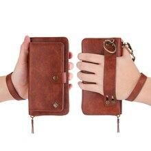 Bileklik deri telefonu çantası iPhone12pro XR 11Pro 7 artı 8 fermuar cüzdan kılıf Samsung S20