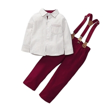 FAutumn Baby Boy Clothes Set Outfits Long Sleeve Striped Print Shirt Blouse+Trousers+Strap Casual Sets frill trim vertical striped cherry print blouse