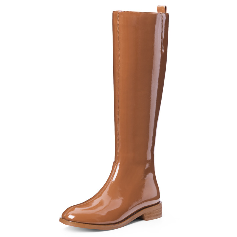 Image 2 - Meotina Winter Riding Boots Women Natural Genuine Leather Zip Flat Knee High Boots Patent Leather Long Shoes Ladies Fall Size 42-in Knee-High Boots from Shoes