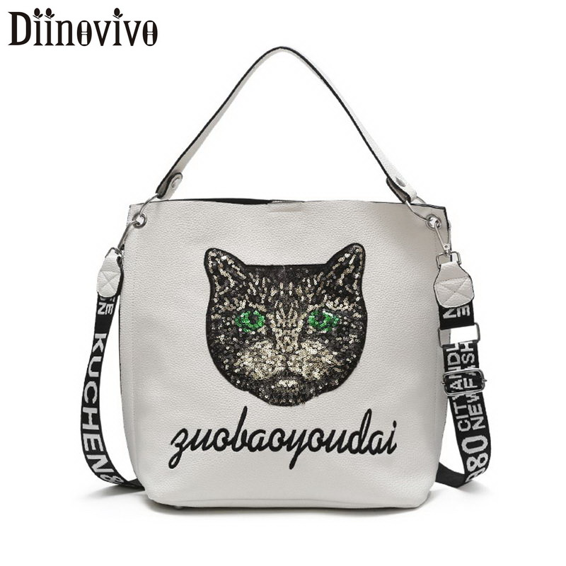 DIINOVIVO Cat Printing Messenger Large Handbag Women Composite Bag 2 sets Shoulder 2019 PU Leather Bags Totes WHDV1247
