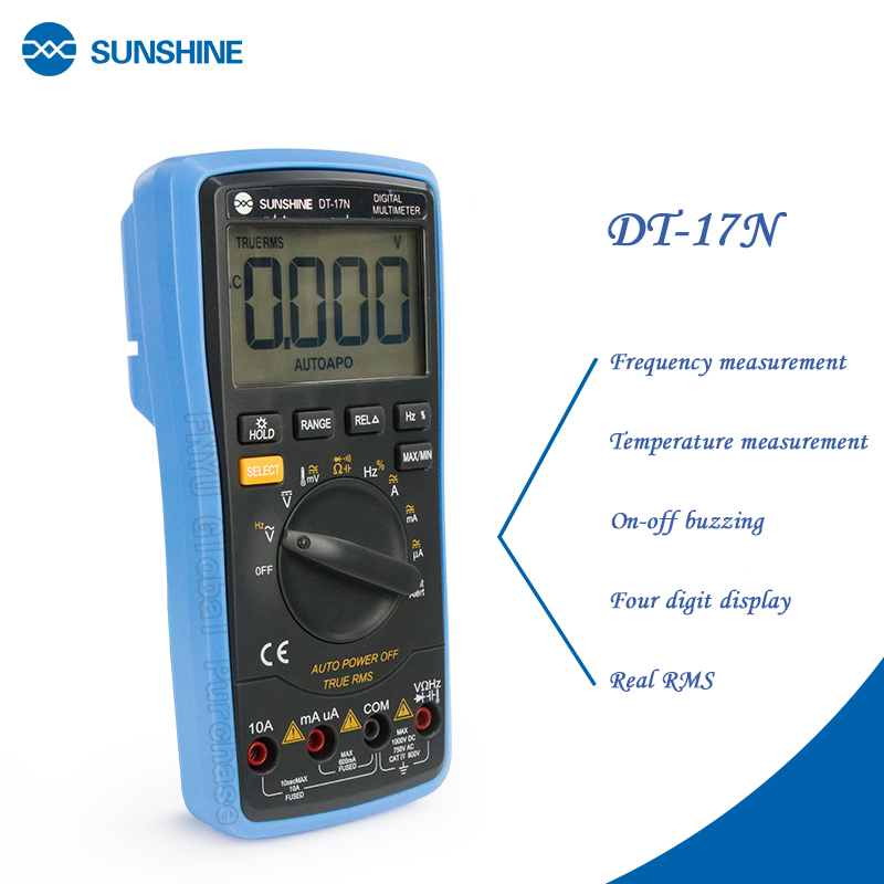 SUNSHINE DT-17N Multimeter Fully Automatic  High Precision Digital Display AC DC Voltage And Current Resistance Measurement