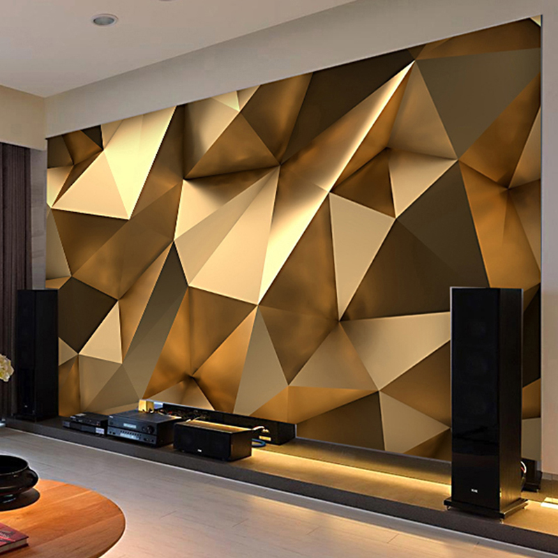 Photo Wallpaper Modern 3D Stereo Golden Geometric Murals Living Room TV Background Wall Decor Self-Adhesive Waterproof Stickers