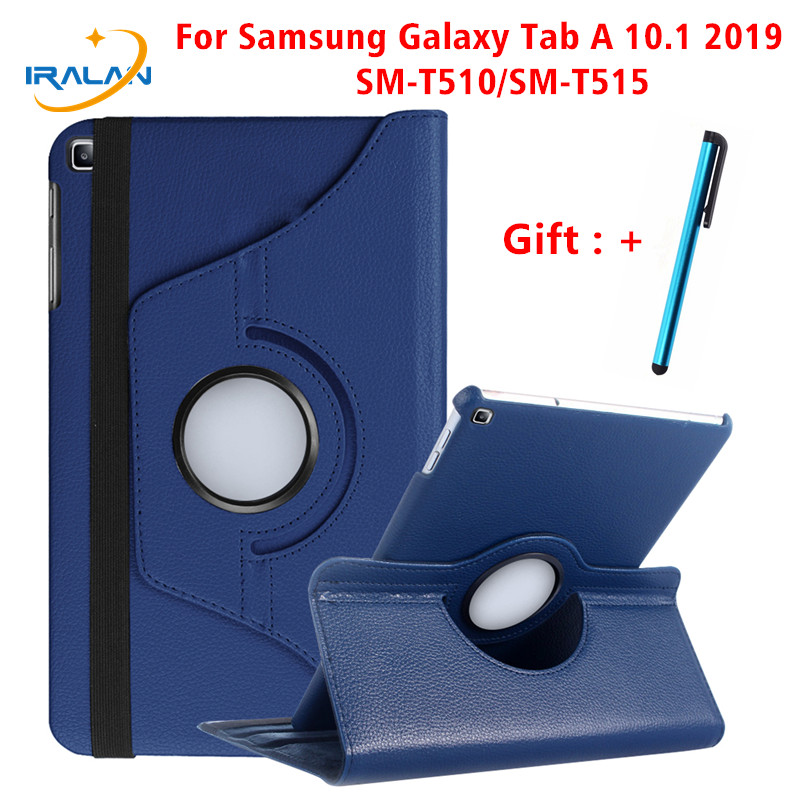 360 Rotating Case for Samsung Galaxy Tab A 10.1 2019 T510 T515 Stand PU Leather Cover for SM-T510 SM-T515 10.1 inch Cover+Stylus image