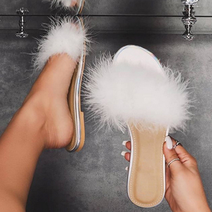 Woman Slippers 2020 Fashion White Feather Furry Flat Women Shoes Ladies Summer Outdoor Slides Female Plus Size 42 Home Slippers