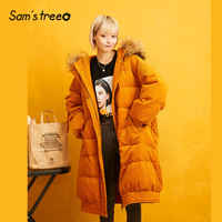 SAM'S BAUM Orange Solid Cord Gerade Hoodies Wärme Unten Mantel Frauen 2019 Winter Pelz Kragen Lange Oversived Weibliche Outwears