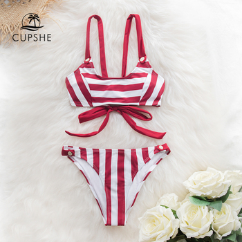 CUPSHE Red and White Stripe Buttoned Bikini Sets Women Sexy Lace Up Swimsuits Two Pieces Swimwear 2020 Beach Bathing Suits 3