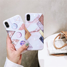 Geometric designs Marble stone cover fundas For Apple iPhone X XR XS MAX 6 7 plus 6s 8 phone cases