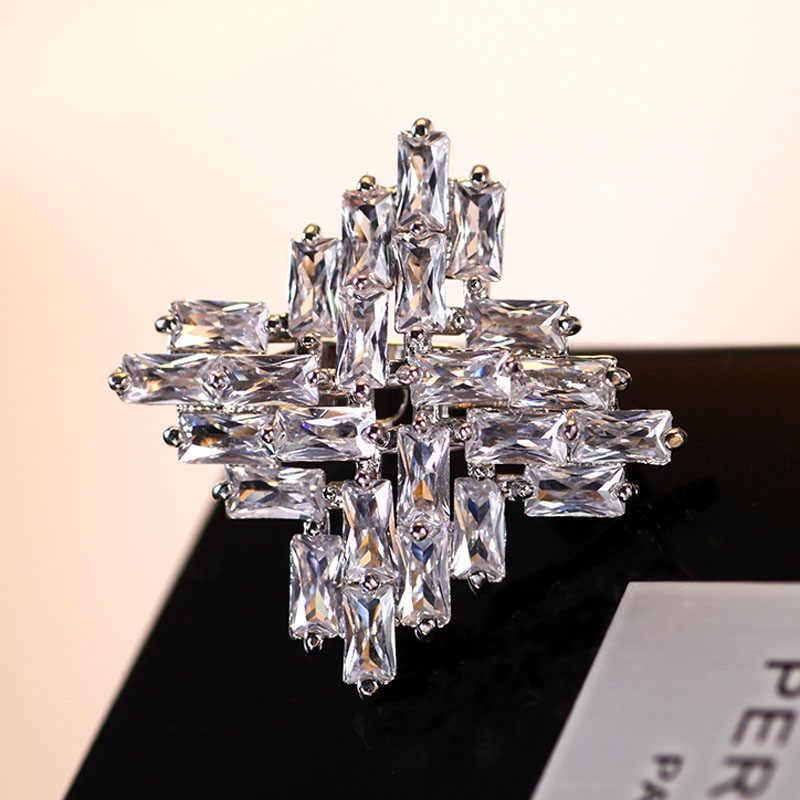 Muda Tulip Luxury Zircon Square Kerah Bros Mengkilap Fashion Perhiasan Suit Sweater Wanita Aksesoris Pesta Hadiah Baru