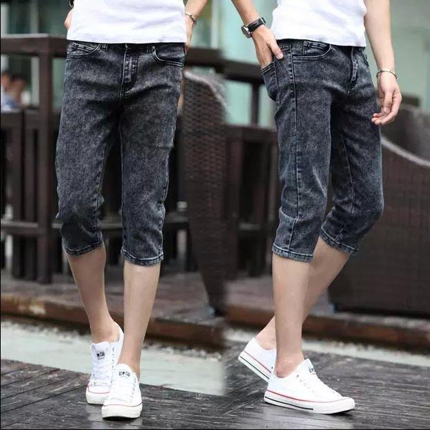 2018 Summer New Style Youth Men Korean-style Capri Black And Gray Jeans Men's Capris