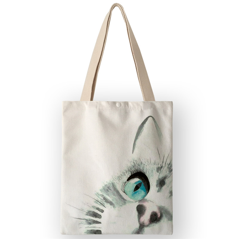 AKB01060 Japanese Style Canvas Shoulder Bag School Students Book Bags Casual Tote Bags Women Handbags Cute Cat Face Printing