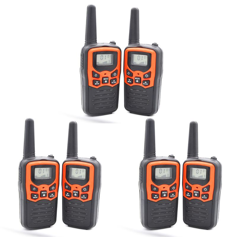 Walkie Talkies For Adults Long Range 6 Pack 2-Way Radios Up To 5 Miles Range In Open Field 22 Channel FRS/GMRS UHF Handheld Walk