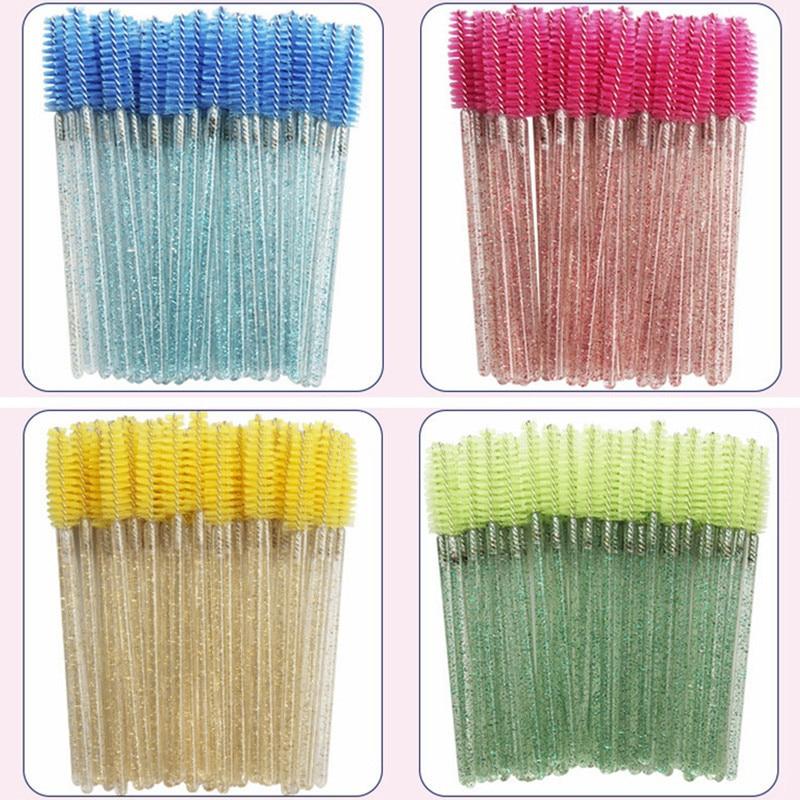 50/100pcs Set Women's Fashion Eyelashes Brushes Mascara Disposable Makeup Brushes Crystal Eyebrow/Eyelash/Mascara Lash Brush