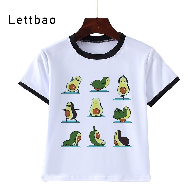 Kawaii Prints White T-Shirt 2020 New Girls T Shirt Short Sleeve O-Neck Tops Kids Casual Children Tshirt Avocado