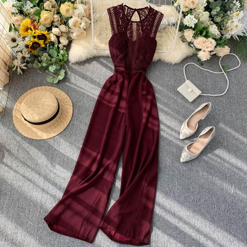Elegant High Waist Hip Wide Leg Patchwork Lace Hollow Out Sleeveless Jumpsuit 19
