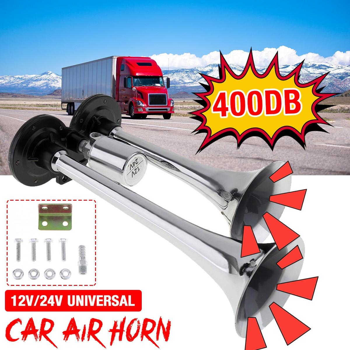12v/24v 150db super alto tweeter chifre elétrico duplo tubos chifre de ar universal para automóvel carro trem caminhão motocicleta