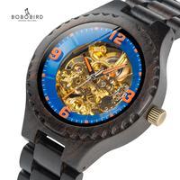 BOBO BIRD Luxury Brand Wood Automatic Watch Men Relogio Masculino Mechanical Wristwatch Metal Logo Insert Wooden Case Clock Gift