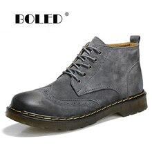 Genuine Leather Men Boots Handmade Warm Short Plush Ankle Snow Boots Plus Size Retro Waterproof Autumn Winter Shoes Men