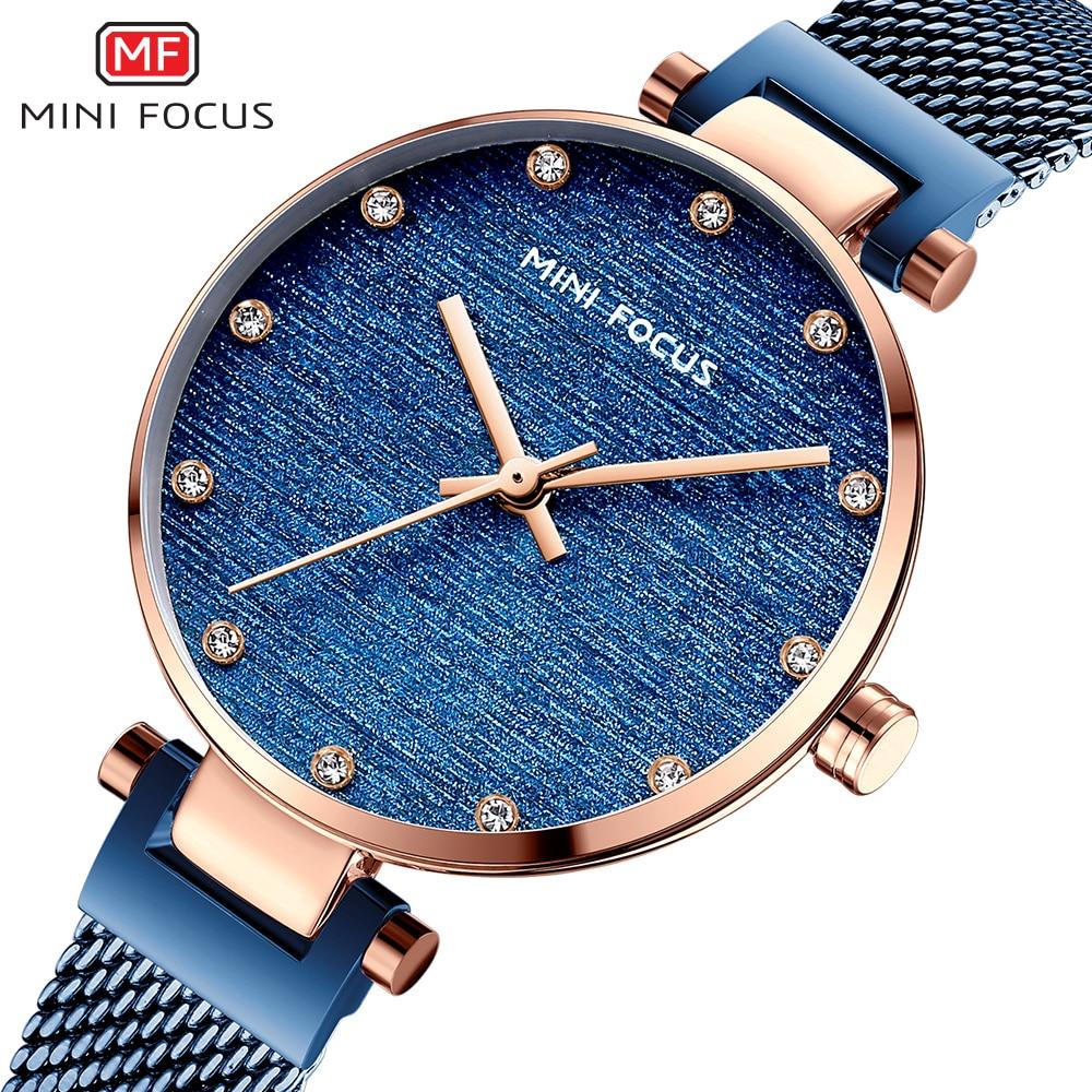 MINIFOCUS Women Watches Top Luxury Fashion Ladies Quartz Movment Blue Color Stainless Steel Mesh Strap Watch Relogio Feminino