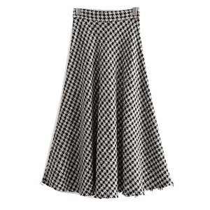 Image 2 - 2019 New High Waist Soft Woolen Check Gingham Plaid Skirts Vintage Woman Front Single breasted Button A line Swing Midi Skirts