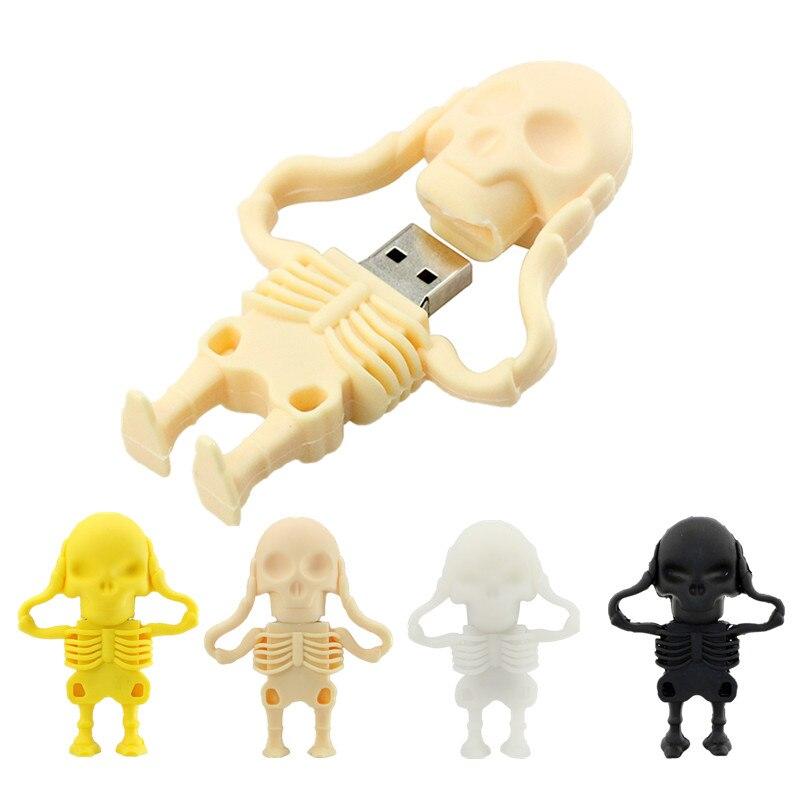 New Usb Flash Drive 128gb Pen Drive 32gb Black Skull Skeleton Pendrive 16gb 8GB 64GB Usb 2.0 Usb Memory Christmas Halloween Gift