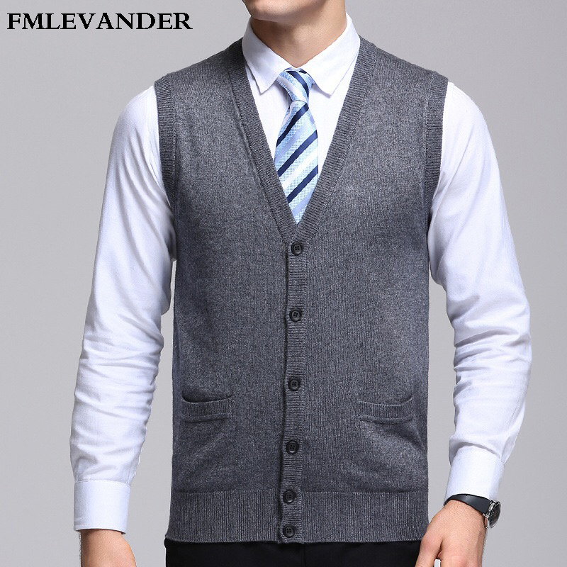 Sold Color Men Winter Autumn Spring Business Sweaters Sleeveless Cardigans Sweater Vest
