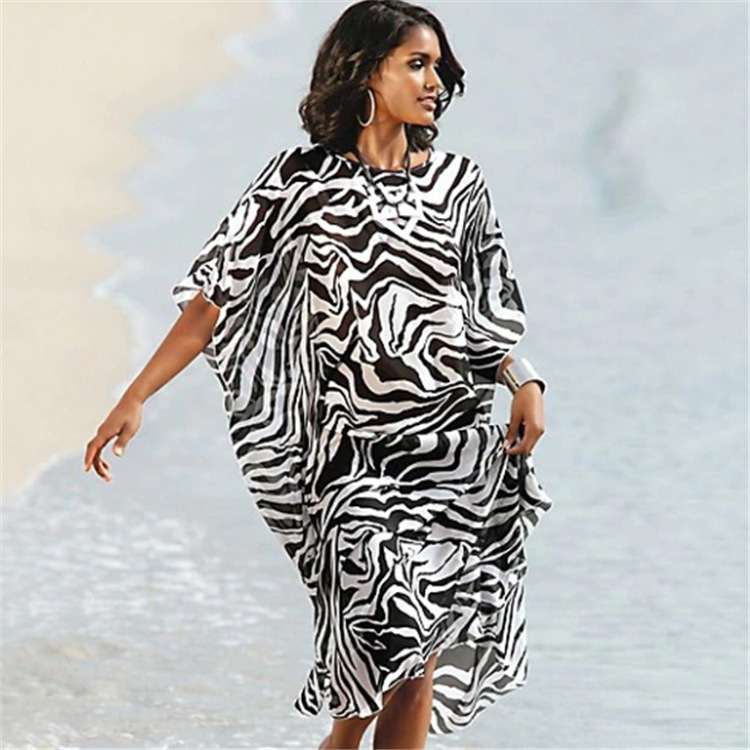 Europe And America New Style Chiffon Zebra-stripe Printed Beach Skirt Style Large Size Bikini Cover-up Holiday Robe Coat