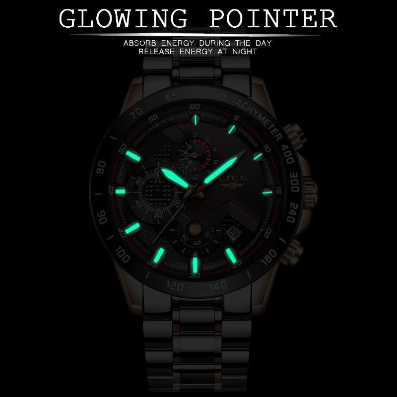 LIGE Luxury Brand Business Mens Quartz Watches Stainless Steel Waterproof Auto Date Luminous Watch Men Army Military Chronograph|Quartz Watches| |  - title=