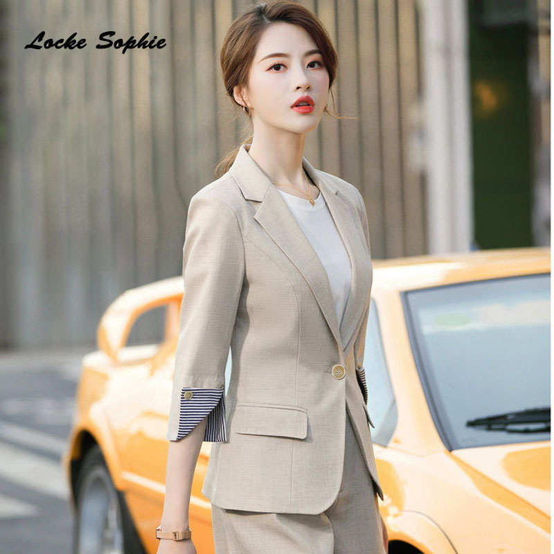 1pcs Women's Plus Size Blazers Coats 2020 Spring Fashion Cotton Blend Middle Sleeve Jackets Ladies Skinny Small Blazers Suits