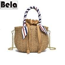 BelaBolso Handmade Rattan Woven Straw Bag Summer Women Messenger Crossbody Bags Girls Ribbon Design Beach Handbag Lady HMB786
