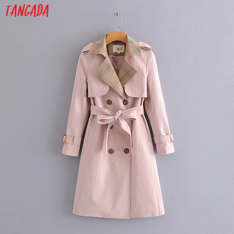 Tangada 2019 Women Cotton Pink Long Windbreaker Sashes Elegant Office Ladies Trench Coat England Style Outwear 5W03