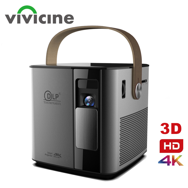 Vivicine Newest P12 3D 4K Projector,Android WIFI HDMI USB 1080p Full HD Home Theater Proyector 12000 mAh Battery Beamer image
