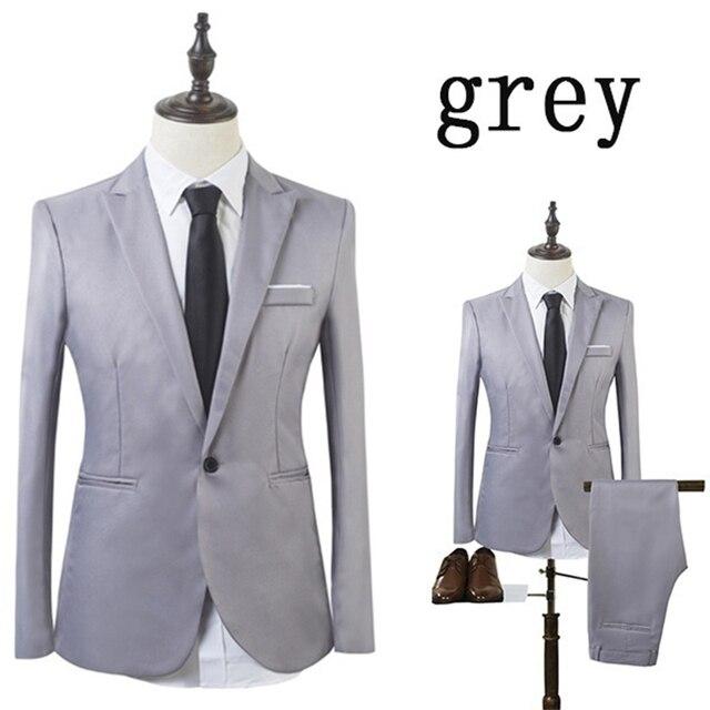 Vogue High Quality Business Suit New Men Business Slim Sets Wedding Dress Suit Blazers Coat Trousers Waistcoat Trousers XS-3XL Men's Fashion