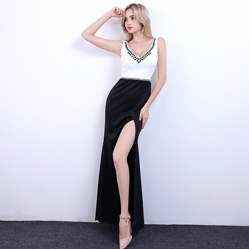 2019 New Style V-neck Sexy Nightclub KTV Evening Gown Pageant Long Skirts Public Relation Model Slit GIRL'S Clothes Slimming