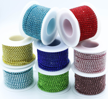 10 yard Glass crystal Strass Rhinestone Cup Chain Sew On Diamond Glue-On Close Chains Glitter Trim Cup Chain sew on Garment 1 yard wide crystal clear rhinestone trim sew on rhinestone chain iron glue on hot fix rhinestones diy shoes clothing decoration