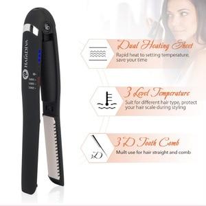 Image 4 - HairDiva Rechargeable Hair Straightener Small  Portable USB Recharging Flat Iron Cordless MINI Wiress Straightening Hair Iron