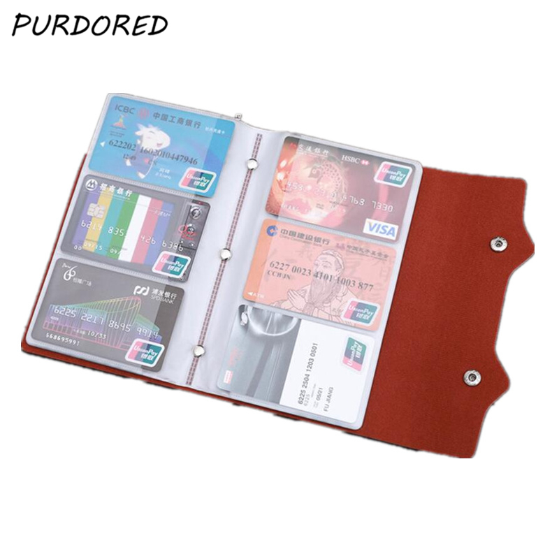 PURDORED 1 Pc 108 Slots Card Holder PU Leather Business Card Case Function Bag Minimalist Wallet ID Card Bag Tarjetero Hombre