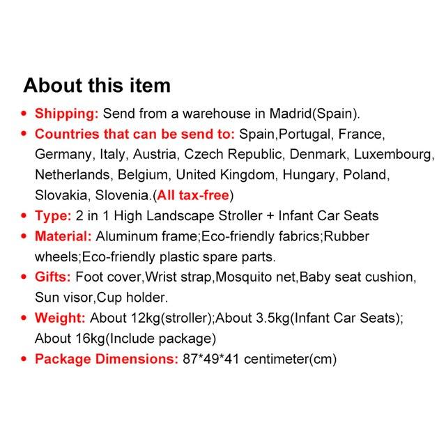 Luxmom carrinho de bebê 3 em 1 com assento de carro materiais ambientalmente amigáveis absorção de choque de quatro rodas enviar de espanha 2