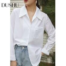 Женская офисная блузка dushu белая винтажная с длинным рукавом