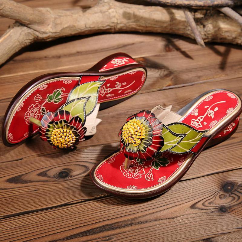 sapatos de couro genuíno chinelos pintados à