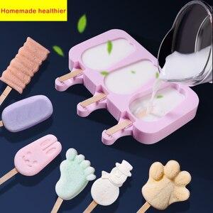 Molde de cubos de gelo de silicone, bandeja reutilizável, molde para congelar, picolé, decoração de natal, faça você mesmo, ferramenta para fazer sorvete com 50 bastão de madeira