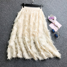 Feather Pattern Tassels High Waist Skirt Herben Style Elegant Slim Long Skirts Women New Chiffon Pink Khaki Black