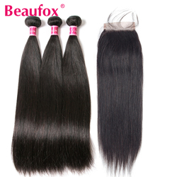 Beaufox Malaysian Straight Hair Bundles With Closure Remy Human Hair Bundles With Closure 3 Bundles With Closure