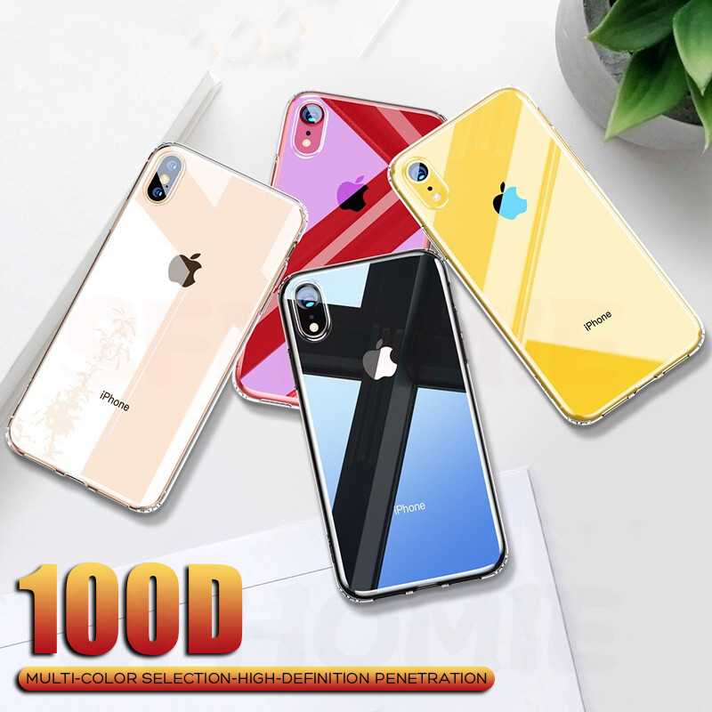 100D Luxury Glass Case For iPhone 11 Pro Max Cases Ultra Thin Transparent Glass Cover For iPhone XS MAX XR X 10 7 8 Soft Edge