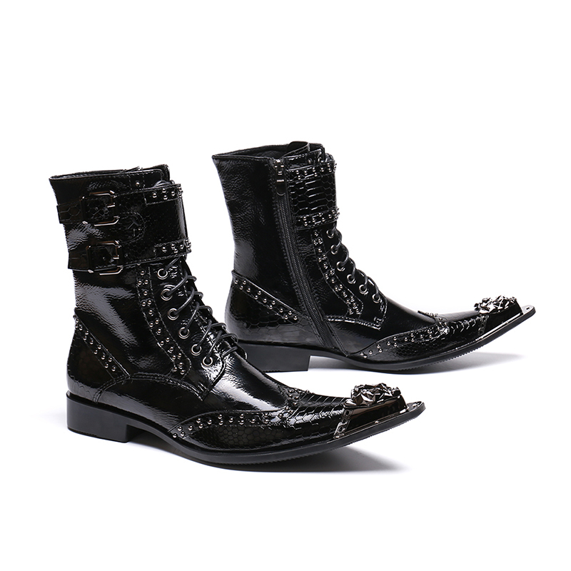 Genuine Leather Double Buckle Zip Lace-up Ankle Boots Fashion Low Heel Animal Oxford Fish-scale Pattern Rivet Martin Boots