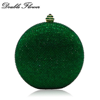 Double Flower Round Wine Pot Emerald Green Women Crystal Evening Bag Wedding Clutch Bag Cocktail Party Diamond Handbag Purse green crystal diamond flower floral purse fashion wedding bridal hollow metal evening purses clutch bag case box handbag female