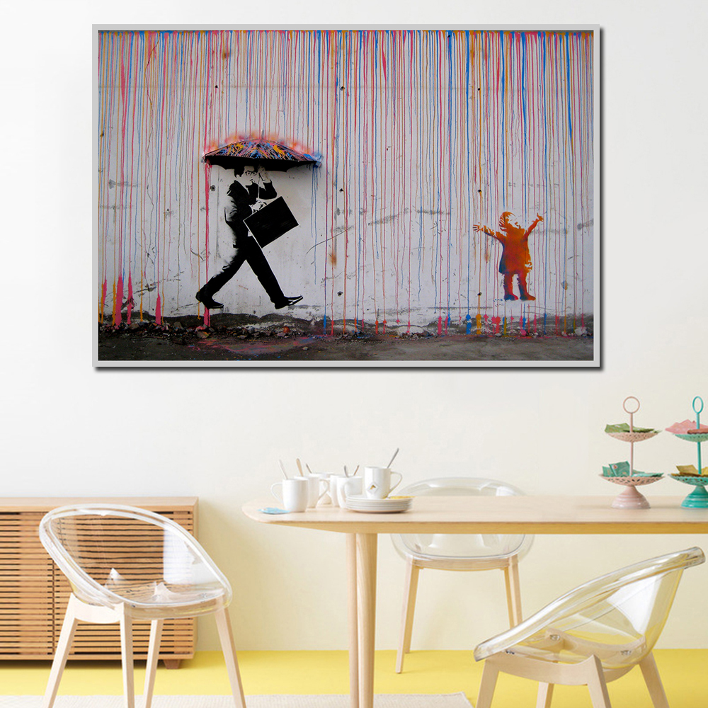 Banksy Colorful Rain Wall Canvas Art
