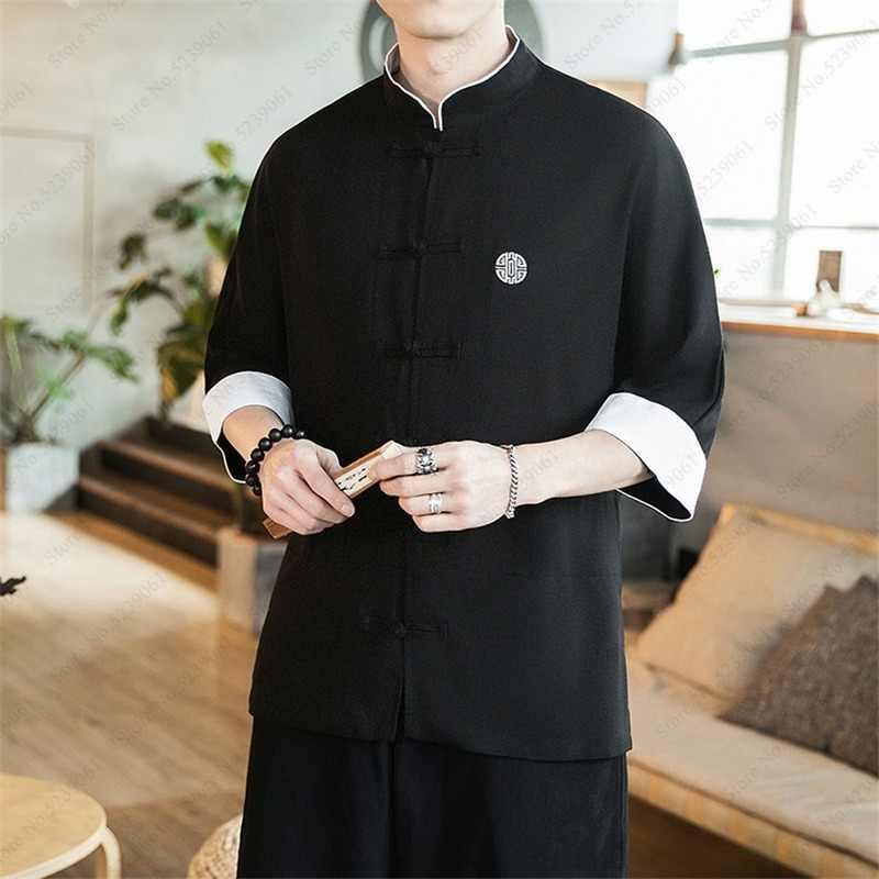 סינית מסורתית בגדים לגברים חולצות רטרו טאנג חליפת פשתן ארוך שרוול מוצק מעילי קונג פו סין סגנון Hanfu חולצה חולצה