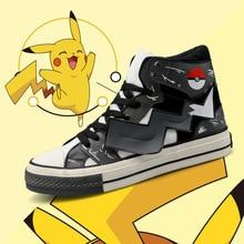 Новинка; обувь для костюмированной вечеринки в стиле аниме «Покемон го Пикачу» в стиле Харадзюку; парусиновая обувь с помпонами; школьная спортивная обувь для подростков; уличные кроссовки для путешествий