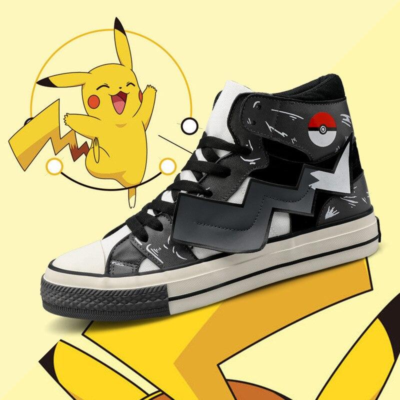 New Harajuku Anime Pokemon Go Pikachu Cosplay Shoes Poke Ball Canvas Shoe Teens School Sports Shoes Street Travel Sneakers Shoes